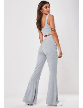 Grey Jersey Flare Scoop Crop Top Co Ord Set by Missguided