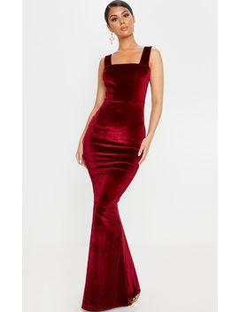 Burgundy Velvet Square Neck Fishtail Maxi Dress by Prettylittlething
