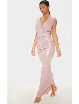 Dusty Pink Shimmer Plunge Drape Maxi Dress by Prettylittlething