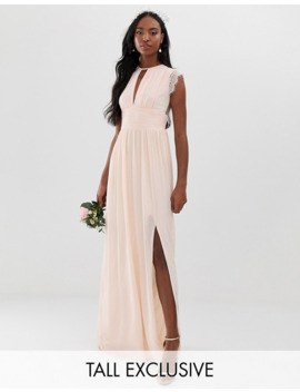 Tfnc Tall Lace Detail Maxi Bridesmaid Dress In Pearl Pink by Tfnc
