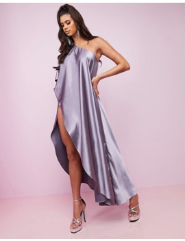 Asos Design Luxe Premium Satin One Shoulder Cape High Split Maxi Dress by Asos Design