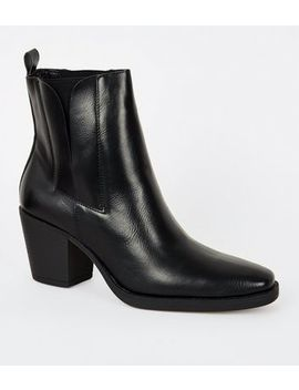 Black Leather Look Square Toe Western Boots by New Look