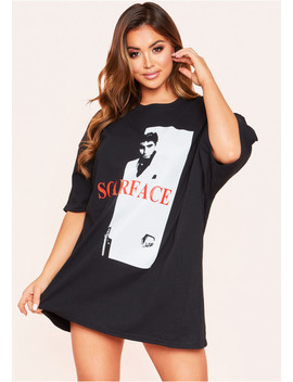 Mylah Black Oversized Graphic T Shirt by Missy Empire