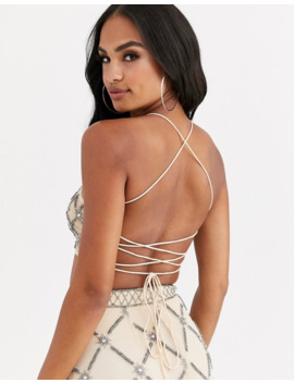 Asos Design Sheer Embellished Crop Top Two Piece by Asos Design