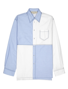 Blue And White Panelled Cotton Shirt by Marni