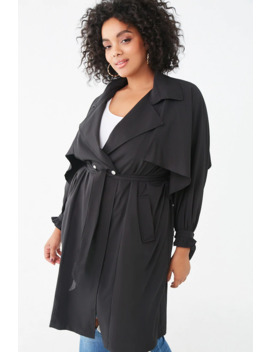 Plus Size Snap Button Trench Coat by Forever 21