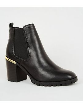 Black Leather Chunky Heeled Brogue Boots by New Look