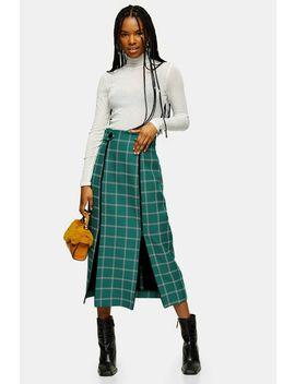 Green Check Split Trim Midi Skirt by Topshop