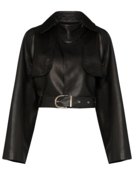 Krista Cropped Leather Jacket by Khaite