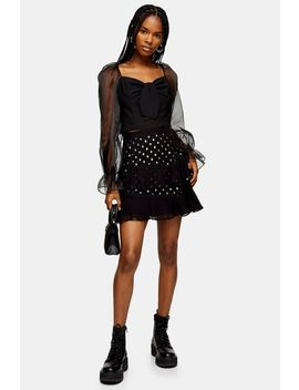 Black Ruffle Plisse Spot Mini Skirt by Topshop