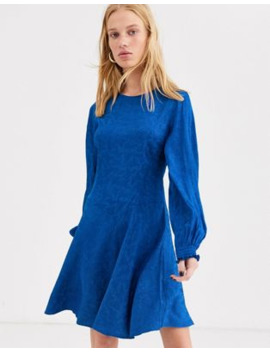&Amp; Other Stories Balloon Sleeve Jacquard Skater Dress In Blue by & Other Stories