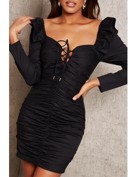 Black Ruched Tie Front Dress by I Saw It First