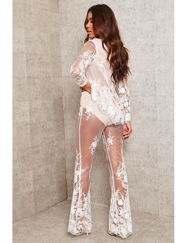 White Sheer Lace Trousers by I Saw It First