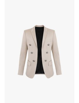 Light Khaki Cotton Blazer With Double Breasted Silver Tone Buttoned Fastening by Balmain