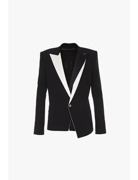 Double Breasted Black And White Satin And Crepe Blazer by Balmain