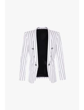 White And Black Striped Cotton Blazer With Double Breasted Silver Tone Buttons by Balmain