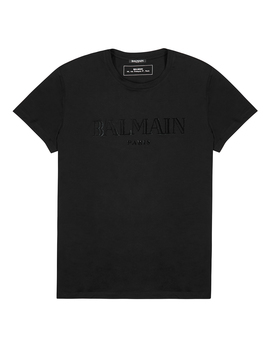 Black Logo Flocked Cotton T Shirt by Balmain