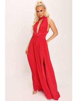 Red Slinky Wear Me Any Way Plunge Maxi Dress by I Saw It First