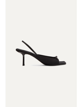 Buckled Crepe De Chine And Leather Slingback Sandals by The Row