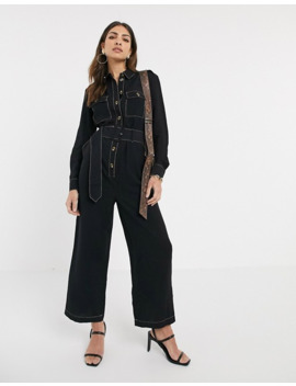 Warehouse Denim Jumpsuit With Contrast Stitching In Black by Warehouse