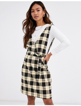 Pimkie V Neck Tie Waist Pini Dress In Yellow Check by Pimkie