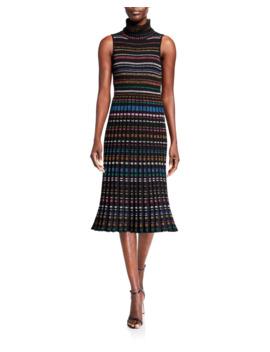 Pleated Metallic Stripe Sleeveless Turtleneck Dress by Milly