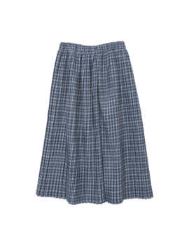Pleated Check Midi Skirt by Stylenanda
