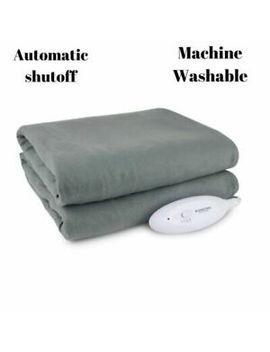 Fleece Heated Electric Throw Blanket Full Size Bed Gray Home Warm Bedding 62x50 by Biddeford