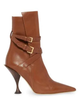 Hadfield Strap Detail Leather Ankle Boots by Burberry