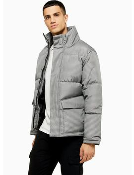 Houndstooth Padded Puffer Jacket by Topman