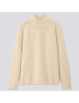 Women Light Souffle Yarn Pointelle Crew Neck Sweater by Uniqlo
