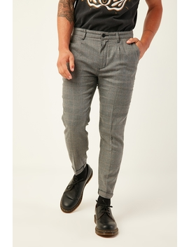 A Cropped Slim Check Pant Let's Ride by Abrand