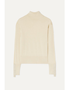 Nabuna Embroidered Merino Wool And Silk Blend Sweater by Burberry
