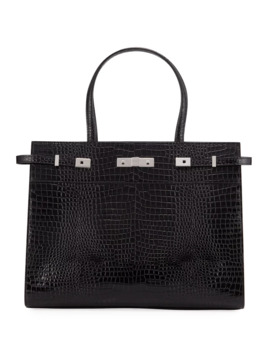 Manhattan Medium Belted Croco Tote Bag by Saint Laurent