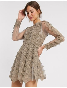 Asos Design High Neck Linear Lace Mini Dress by Asos Design