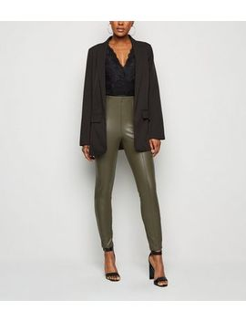 Olive Coated Leather Look Leggings by New Look
