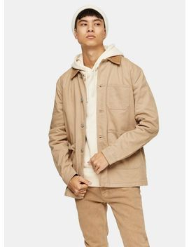 Stone Denim Corduroy Collar Chore Jacket by Topman