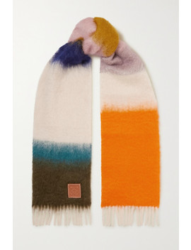 Leather Trimmed Fringed Striped Mohair Blend Scarf by Loewe