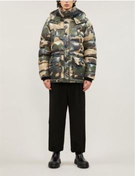 Camouflage Print Shell Down Hooded Jacket by Moncler