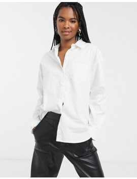 Monki Button Through Oversized Shirt In White by Monki