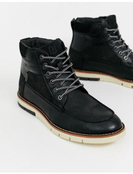 River Island Lace Up Boot With Contrast Sole In Black by River Island