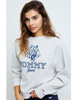 Tommy Jeans Flocked Tiger Crew Sweatshirt by Pacsun