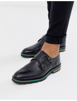 Silver Street Leather Brogue Monk Shoe In Black by Asos