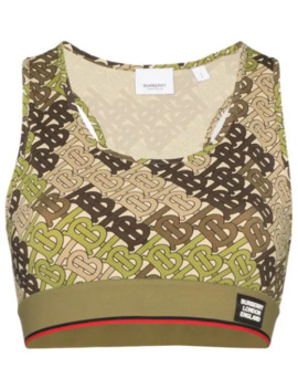 Monogram Print Cropped Tank Top by Burberry