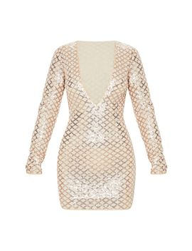 Rose Gold Patterned Sequin Long Sleeve Plunge Bodycon Dress by Prettylittlething