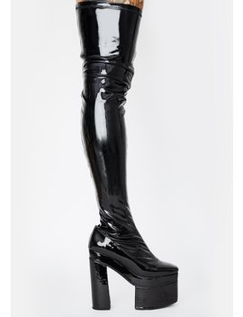Vampette Patent Thigh High Boots by Current Mood