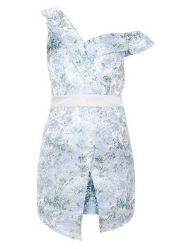 Silver Asymmetric Bardot Jacquard Blazer Dress by Prettylittlething