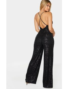 Black Strappy Sequin Plunge Jumpsuit by Prettylittlething
