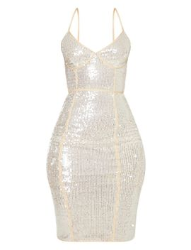 Nude Sequin Binding Detail Strappy Midi Dress by Prettylittlething