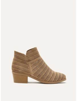 Wide Laser Cut Suede Booties by Penningtons